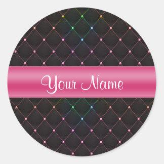 Colorido negro rosado acolchada moda personalizado pegatina redonda