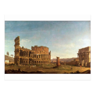 Colosseum y arco de Constantina (Roma) Postal