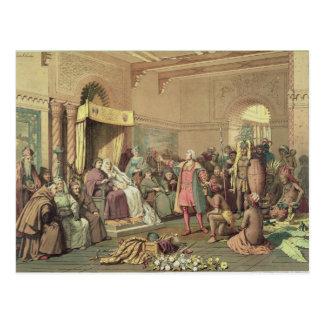 Columbus en la corte real de España en Barcelona Postal