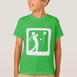 Coma al club de golf de balanceo de la persona del camiseta