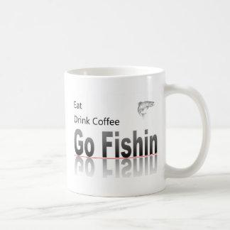 Coma, beba el café, vaya taza de café de Fishin