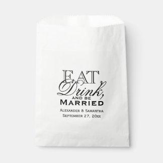 Coma, beba, y esté casado personalizó el boda bolsa de papel