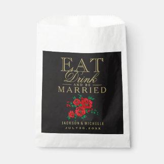 Coma, bebida y esté casado - floral rojo bolsa de papel