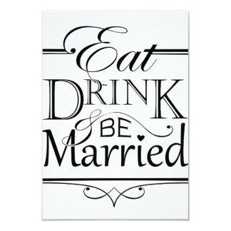 Coma, bebida y esté casado invitación 8,9 x 12,7 cm
