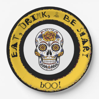 Coma, bebida y sea asustadizo, placa del fiesta plato de papel