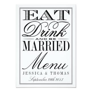 Coma, bebida y sea boda negro/blanco moderno invitación 11,4 x 15,8 cm