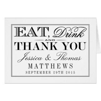 Coma, bebida y sea boda negro/blanco moderno tarjeta pequeña