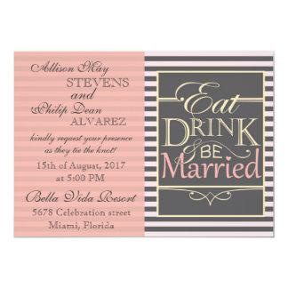 Coma, bebida y sea diseño casado invitación 12,7 x 17,8 cm