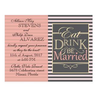 Coma, bebida y sea diseño casado postal