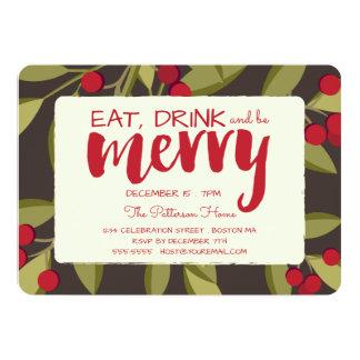 Coma, bebida y sea feliz fiesta de Navidad del día Invitación 12,7 X 17,8 Cm