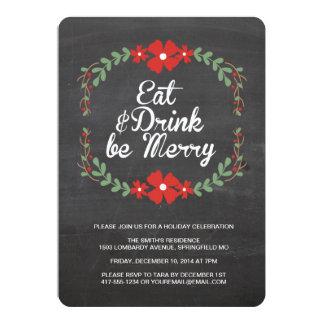Coma, bebida y sea feliz invitación de la fiesta