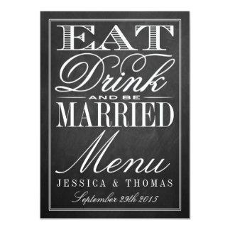 Coma, bebida y sea menús casados del boda de la invitación 11,4 x 15,8 cm