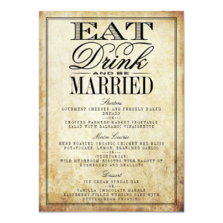 Coma, bebida y sea menús casados del boda del