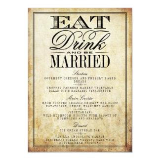 Coma, bebida y sea menús casados del boda del invitación 11,4 x 15,8 cm