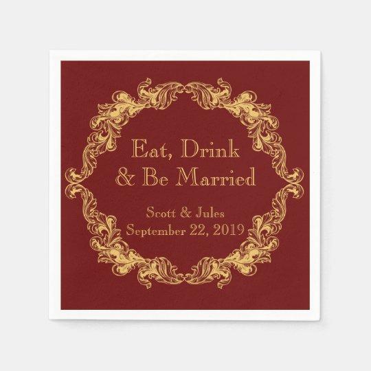 Coma, bebida y sea servilletas casadas del boda servilleta desechable