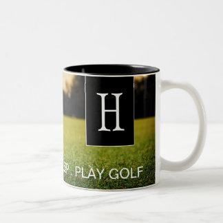 Coma, duerma, juegue la taza de café del golf