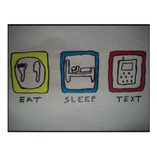 coma, duerma, texting la tarjeta