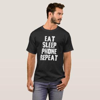 Coma el diseño de la repetición del teléfono del camiseta