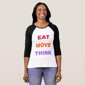 Coma el movimiento piensan la camisa del raglán de