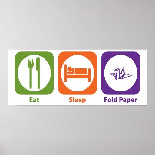 Coma el papel del doblez del sueño impresiones