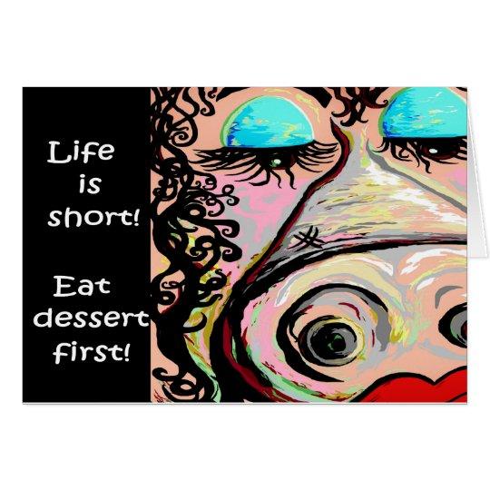 Coma el postre primer tarjeta pequeña