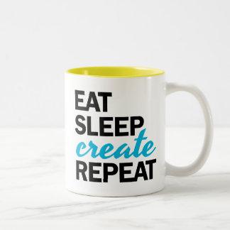 Coma el sueño crean la taza de la repetición