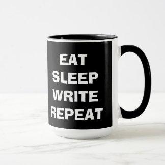 Coma el sueño escriben la repetición taza