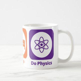 Coma el sueño hacen la física taza básica blanca