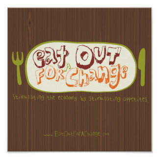 Coma hacia fuera para un poster del cambio