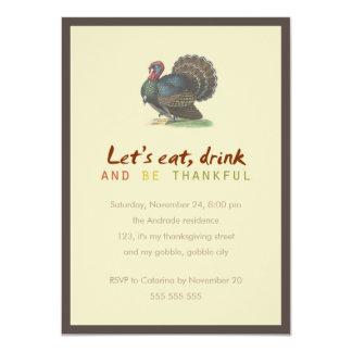 Coma la bebida sea acción de gracias agradecida invitación 11,4 x 15,8 cm