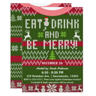 Coma la bebida sea suéter del punto del día de invitación 12,7 x 17,8 cm