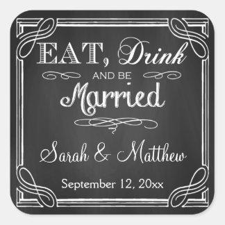 Coma la bebida y esté casado casando a los pegatin