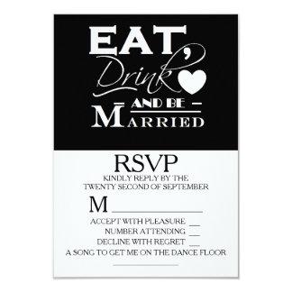 Coma la bebida y esté casado casando RSVP Invitación 8,9 X 12,7 Cm