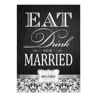 Coma la bebida y esté casado con damasco negro y b invitaciones personalizada