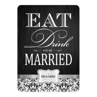 Coma la bebida y esté casado con damasco negro y invitación 12,7 x 17,8 cm