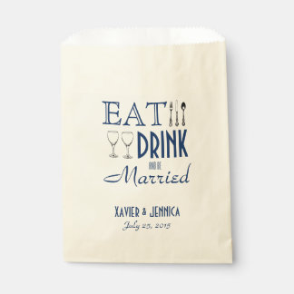Coma la bebida y esté casado personalizó los bolsa de papel