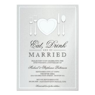 Coma la bebida y sea 25ta invitación casada del invitación 12,7 x 17,8 cm