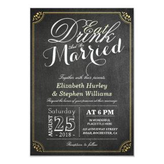 COMA la bebida y sea boda casado de la frontera de Invitación 8,9 X 12,7 Cm