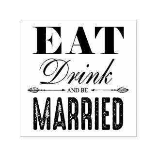 Coma la bebida y sea boda casado sello automático