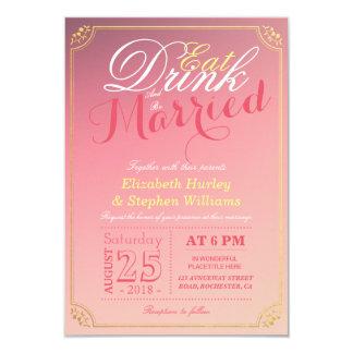 COMA la bebida y sea boda rosado casado de la Invitación 8,9 X 12,7 Cm