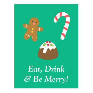 Coma la bebida y sea feliz con las chucherías del postal