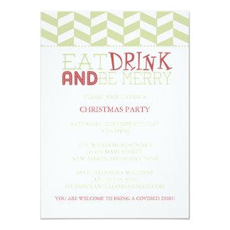 Coma la bebida y sea feliz raspa de arenque del | invitación 12,7 x 17,8 cm