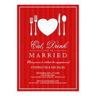 Coma la bebida y sea invitación casada del fiesta invitación 12,7 x 17,8 cm