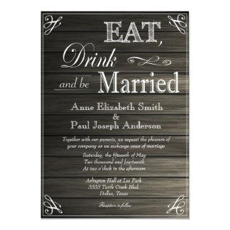 Coma la bebida y sea invitaciones casadas de invitación 12,7 x 17,8 cm