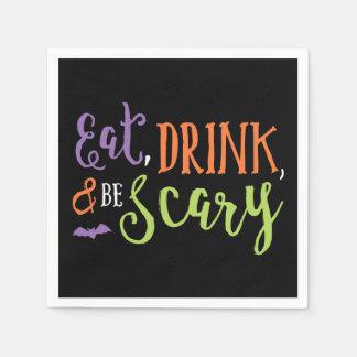 Coma la bebida y sea servilletas asustadizas de servilleta de papel