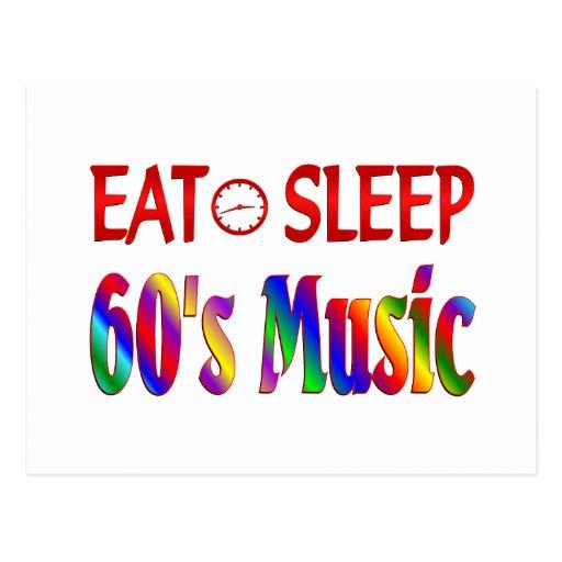 Coma la música de los años 60 del sueño tarjetas postales