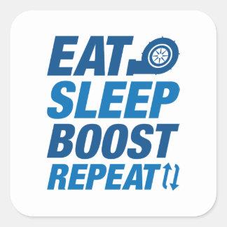 Coma la repetición del alza del sueño pegatina cuadrada