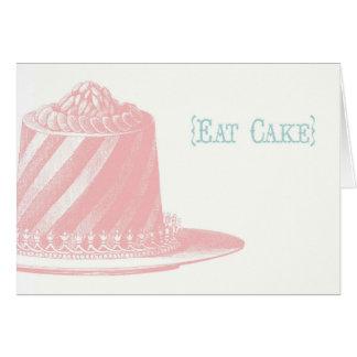 Coma la tarjeta de cumpleaños de la torta