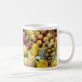 Coma más fruta tazas de café