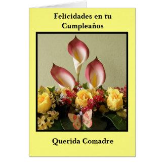 Comadre del querida de los cumpleaños del en tu de tarjeta de felicitación